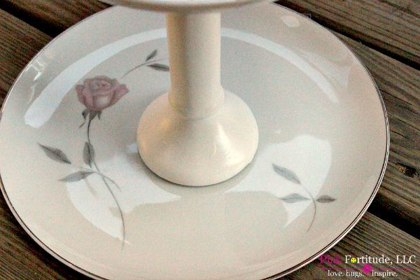 DIY Tiered Stand made from Vintage China by coconutheadsurvivalguide.com #upcycled #repurposed #funkyjunk