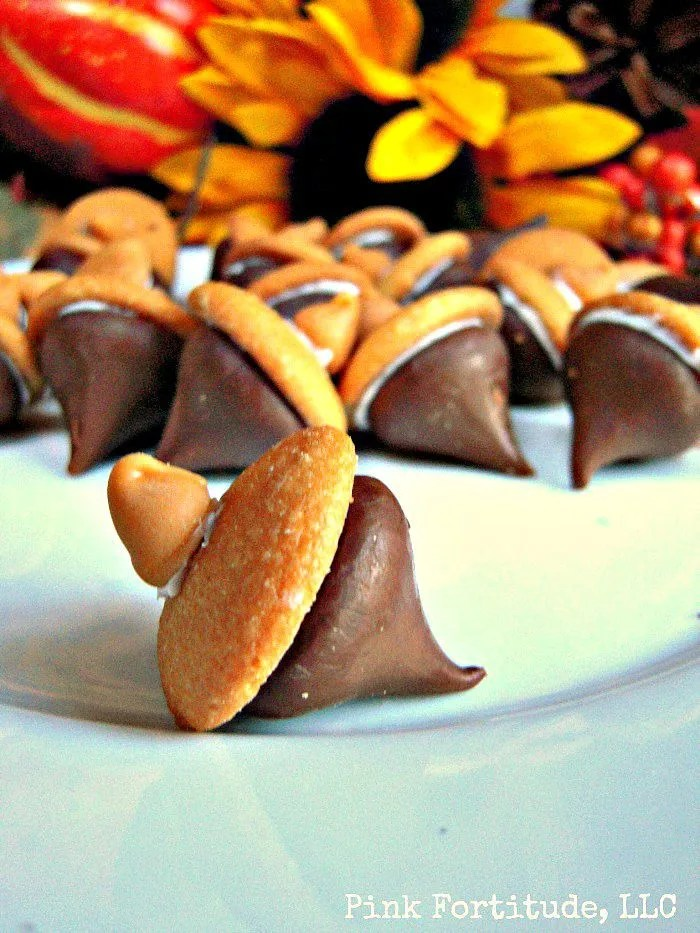 Hershey Kisses make these adorable acorn treats a special snack for the entire family. I saw this in a promotional flyer for Hershey Kisses at the commissary and knew I had to share these with you! I lived and worked in Hershey, PA for many years, so I love to make anything with Hershey Kisses. And yes, the town's street lights were really shaped like Hershey Kisses!