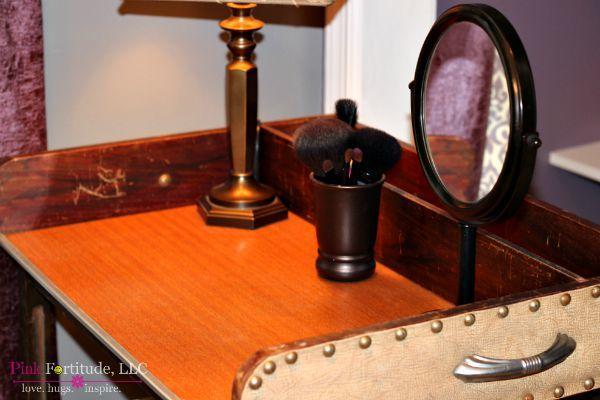 Vintage Bar Cart Turned Makeup Vanity Pink Fortitude LLC Stunning Sewing Machine Bar Cart