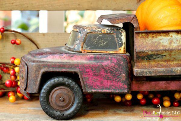 Junkin Pumpkins Old Antique Dump Truck and Pumpkins Fall Vignette by coconutheadsurvivalguide.com