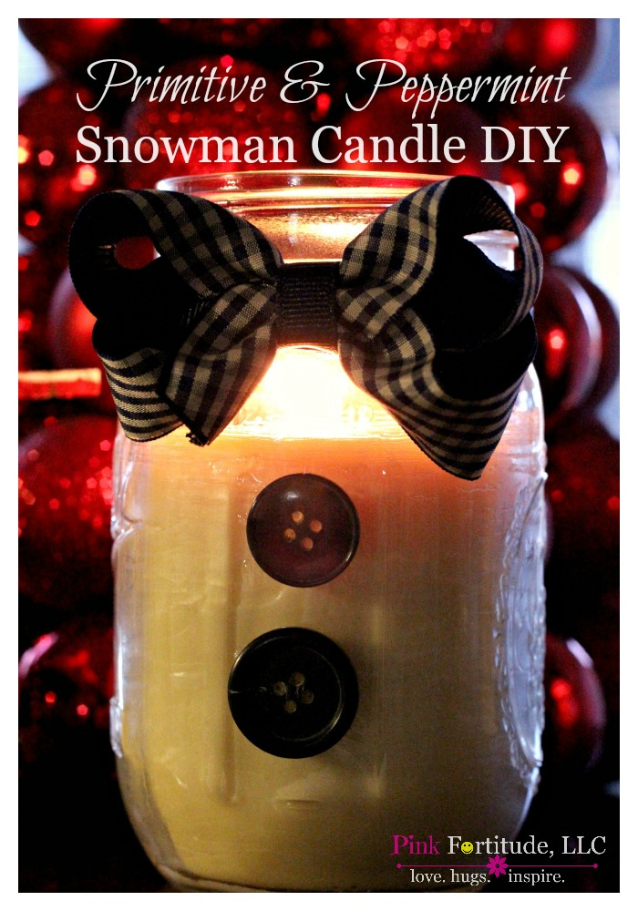 Primitive & Peppermint Snowman Candle DIY I wanted to try making a snowman candle. I thought he would be cute in a Mason Jar, with a bow tie and some buttons. And what better fragrance than peppermint for this snowy scented guy? He's primative AND peppermint - ladies watch out!