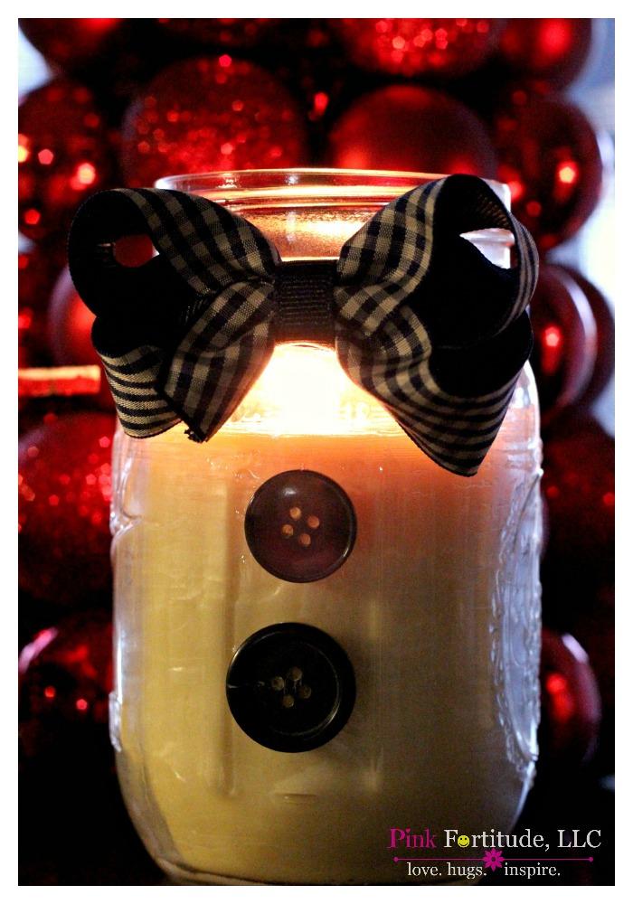 Primitive & Peppermint Snowman Candle DIY