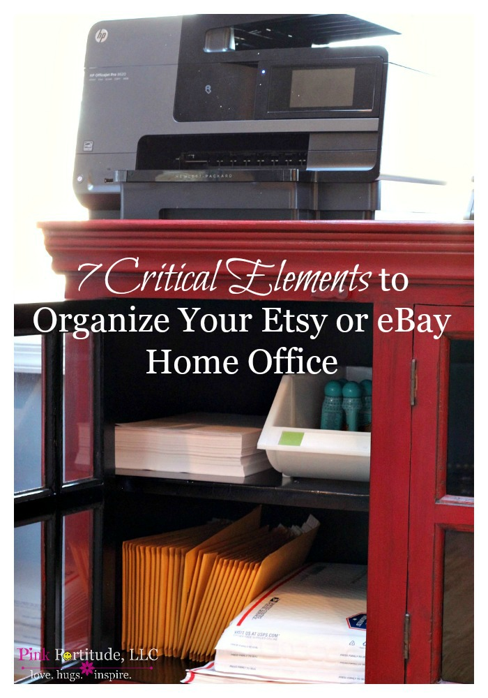 "Having a home business and office in addition to all of the ""stuff"" you need to manage your family can make your space cluttered. If your home business includes selling on Etsy or eBay, you have inventory and mailing supplies on top of everything else. How do you manage to control the clutter from all of the extra items you need to run these kinds of businesses? Keep reading for 7 critical elements to organize your Etsy or eBay home office."