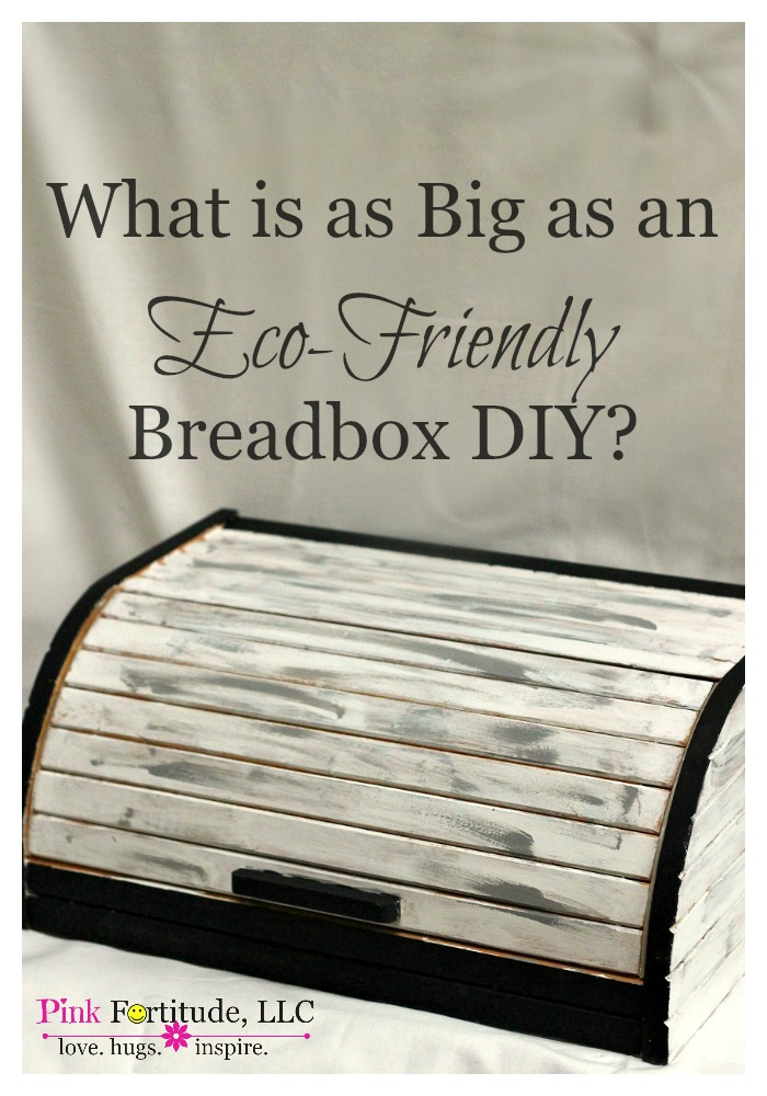 What is as big as an eco-friendly breadbox DIY? Um... an eco-friendly breadbox DIY! It's a yard sale rescue painted with environmentally safe paint. The transformation is pretty cool!