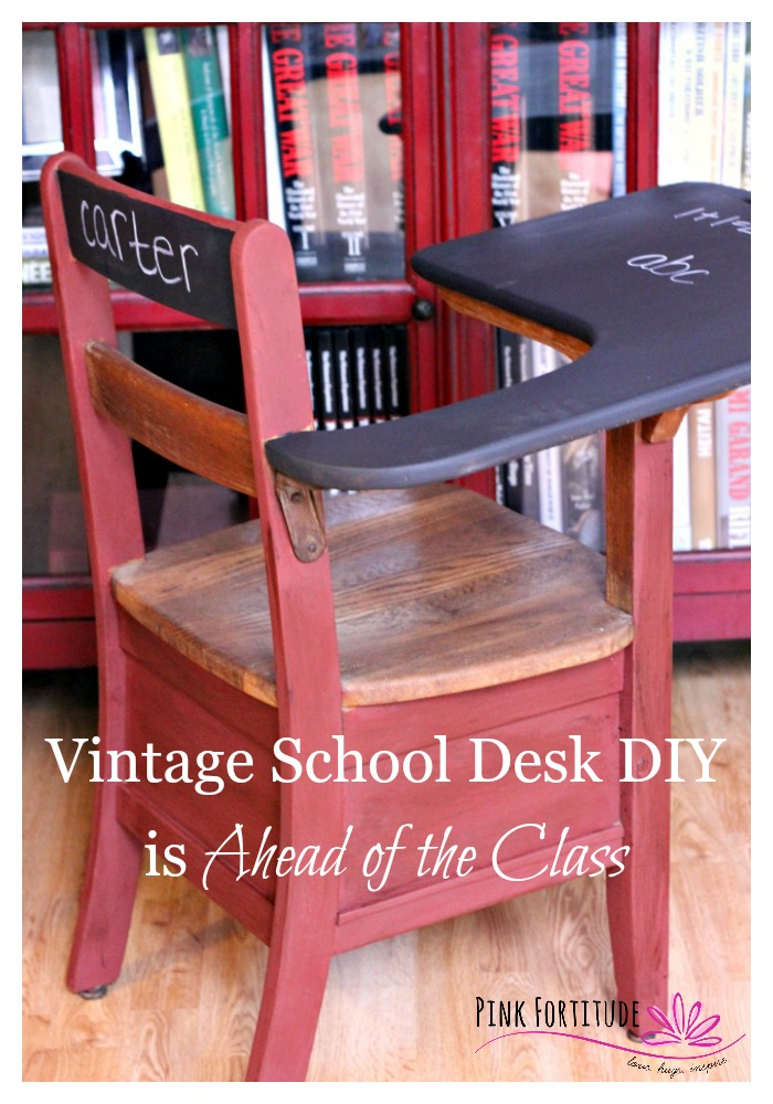 Hubby and I found this adorable vintage school desk when we were out  antiquing. I - Vintage School Desk DIY Is The Head Of The Class - Pink Fortitude, LLC