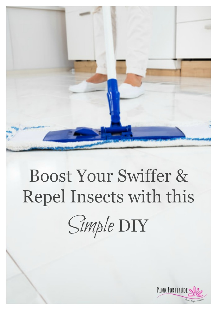 I have a confession to make. I'm a Swiffer-a-holic. I love to Swiffer. As good as it works, it still doesn't always get up ALL of the dirt and dust. Why not make an all-natural cleaning product that has dual purpose to both clean and help repel insects? Essential oils to the rescue! Here's the super simple DIY...