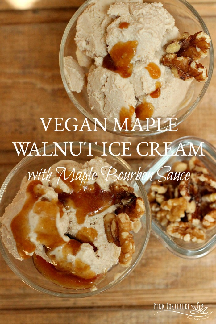 My mother-in-law's cat, Sweet Pea, helped me come up with this recipe for vegan maple walnut ice cream with maple bourbon sauce. Yes, her cat. So whether you are interested in the delicious recipe or the crazy story, read on my friend...