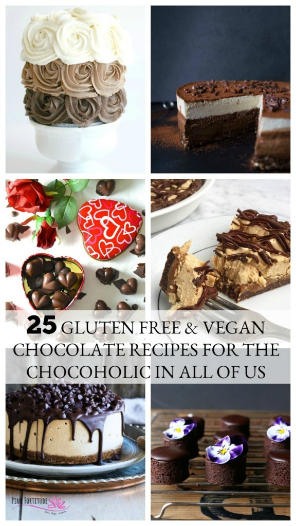 Whether it's for Valentine's Day, a special occasion, or pretty much any day, chocolate makes every day better. These 25 chocolate recipes are gluten-free and/or vegan and are sure to bring out the chocoholic in all of us! #chocolate #glutenfree #pinkfortitude