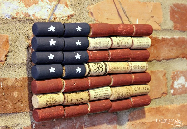 American Flag Wine Cork Upcycle Craft