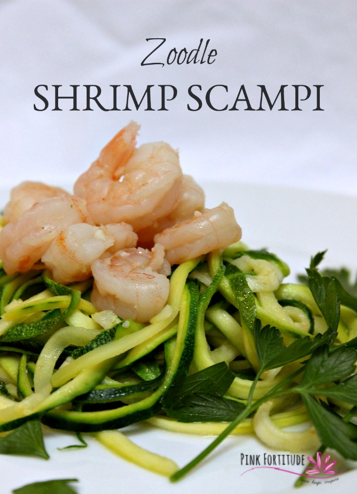 One of my favorite dinners is Shrimp Scampi. There is something so comforting about the sauteed shrimp on top of a big ole bowl of (gluten free) spaghetti. It seems like everyone is on the zoodle bandwagon lately, so I thought... why not give them a try and make some Zoodle Shrimp Scampi. Read on to see how it turned out!