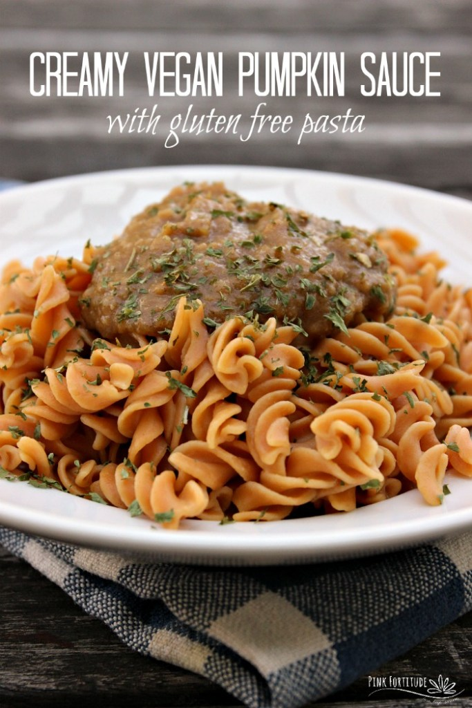 I love any recipe made with pumpkin. It's one of my favorite foods, and it's super crazy healthy for you! This creamy pumpkin sauce is vegan and dairy free, and is versatile enough to be served over gluten free pasta, regular pasta, and even pasta with grilled chicken. #pumpkin #pumpkinspice #glutenfree #vegan #recipe #pasta #pinkfortitude