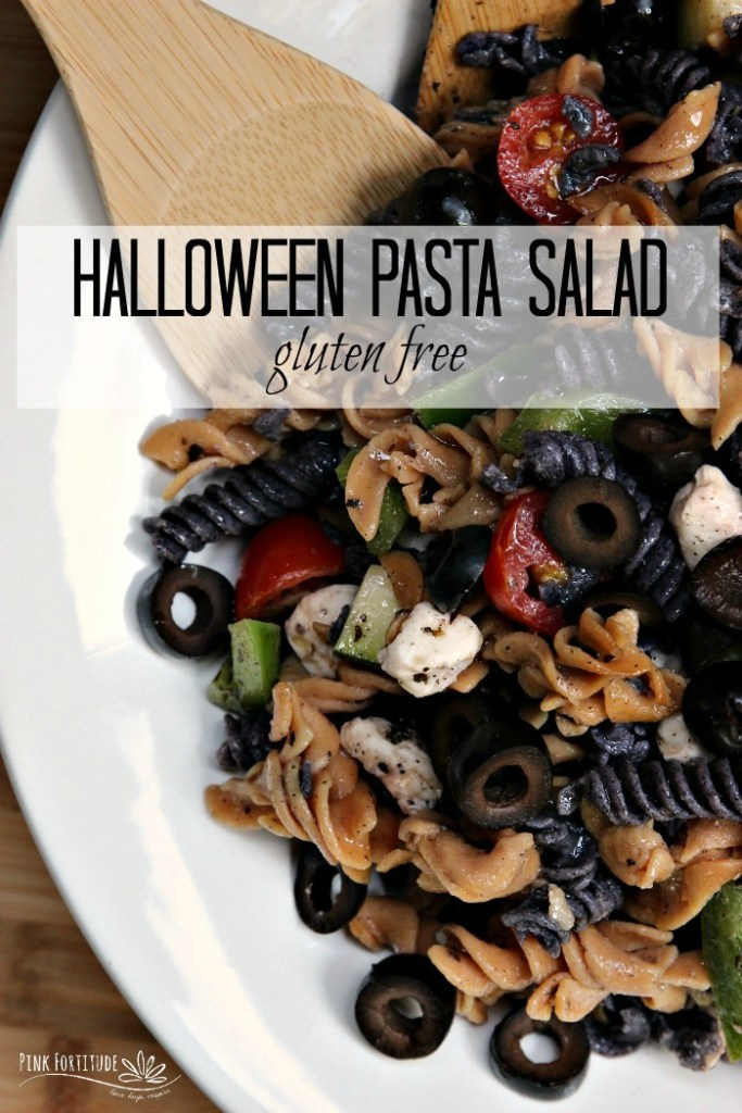 Sometimes, you need something quick and easy to whip up for your Halloween party or take along to a potluck. This Italian-style Halloween pasta salad is THE perfect dish to feed a crowd. Oh and BTW - it's made with whole foods and is gluten-free and dairy free to accommodate anyone's nutritional protocols or dietary needs. AND - the black and purple pasta is made with all-natural ingredients. As in - real food. You don't have to be scared with this recipe...