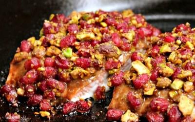 Pistachio Crusted Salmon with Pomegranate Glaze