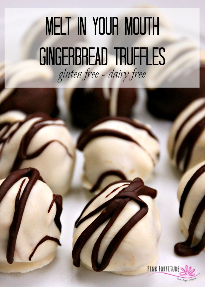 These Gingerbread Truffles will melt in your mouth. Literally. They are gluten free and dairy free. Make them as a hostess gift, for your own holiday entertaining, or just to enjoy noshing on yourself. Get the recipe... #glutenfree #gingerbread #recipe #pinkfortitude