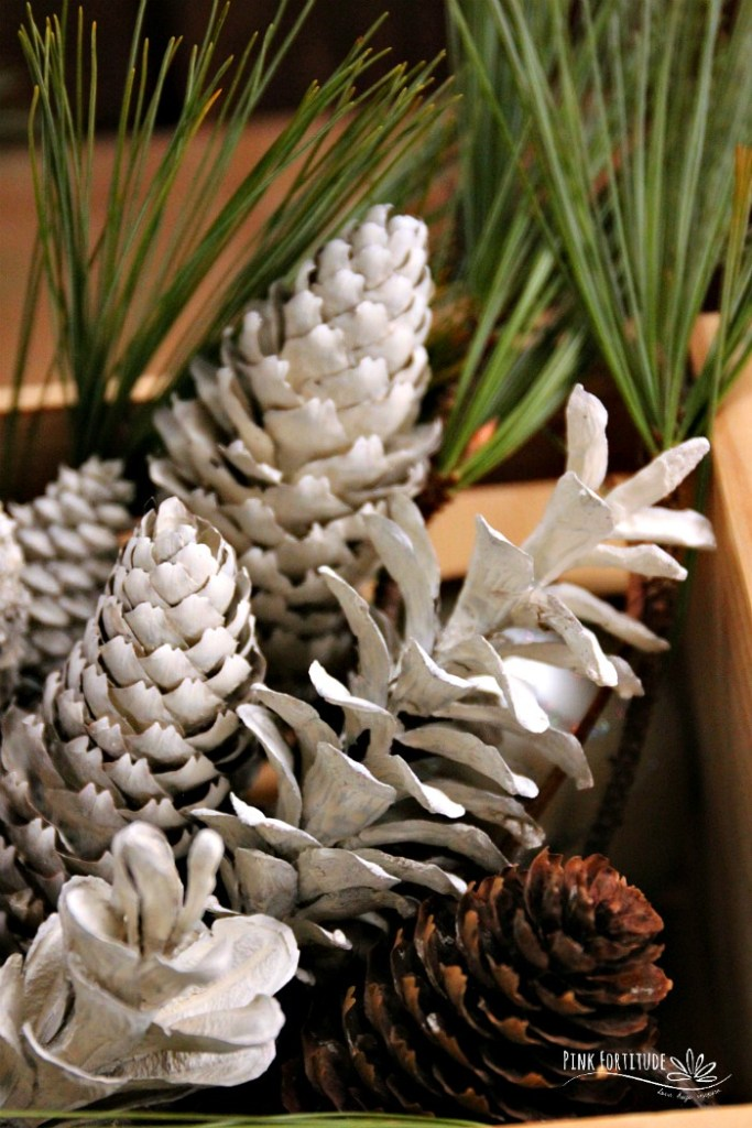 Do you love the gorgeous look of bleached pinecones? They have a farmhouse look and feel and are perfect for any Christmas decor. I wanted to recreate this look without the use of toxic bleach. Check out this quick and easy DIY and learn how to make bleached pine cones without the bleach. The method is all-natural and only takes a few minutes of hands-on time. #christmas #pinkfortitude