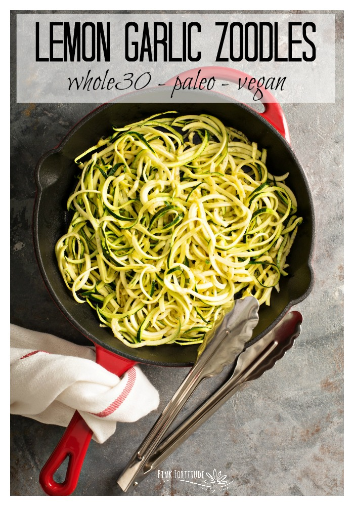 If your summer harvest is exploding with zucchinis, these Lemon Garlic Zoodles are going to be your favorite go-to recipe. The lemon and garlic really make the flavor pop. This super healthy zucchini noodle recipe is Whole30, Paleo, and Vegan. PS - it only takes 10 minutes to make!