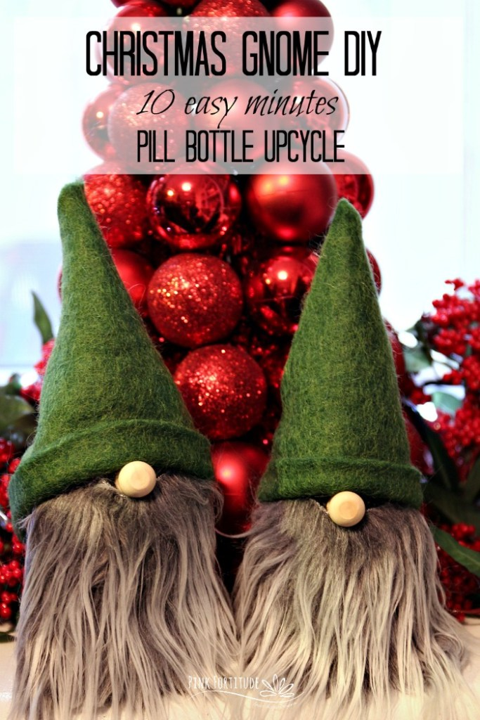 There is nothing more adorable than a Christmas Gnome. They are soooo stinkin cute! You can make one in 10 minutes easy peezy and with this DIY tutorial, we use upcycled pill bottles! It's a win for your holiday decorations and a win for the environment.