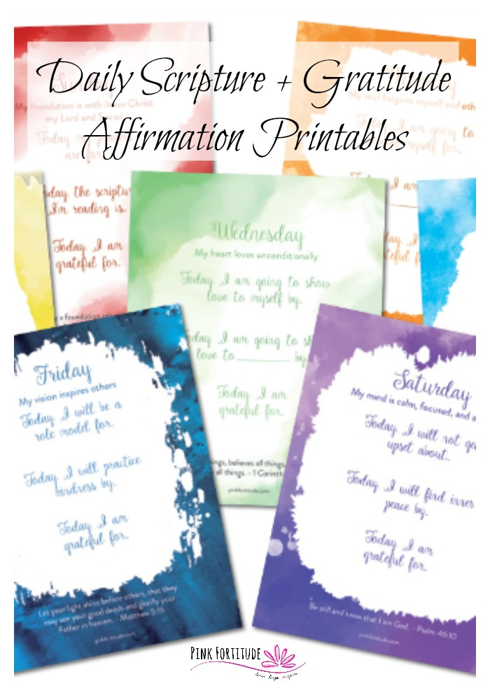 What if... you could combine your daily scripture and Bible verses with an affirmation AND gratitude? These daily scripture printables do just that. They are a beautiful way to focus on God and gratitude.