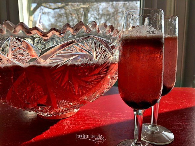 It's not a party until the punch is served. This Sparkling Cranberry Punch is non-alcoholic, kid-friendly, and lightened up with less sugar and dairy-free ice cream or sorbet. It's PINK which makes it perfect for a baby shower, kids party, Valentine's Day, or even a breast cancer fundraiser.