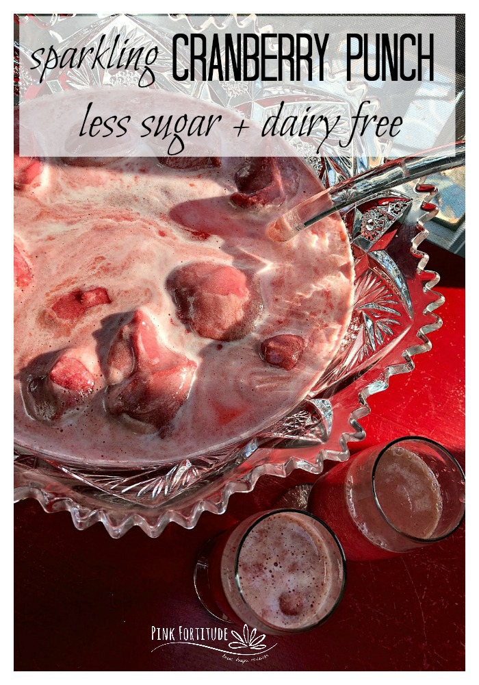 It's not a party until the punch is served. This Sparkling Cranberry Punch is non-alcoholic, kid-friendly, and lightened up with less sugar and dairy-free ice cream or sorbet. It's PINK which makes it perfect for a baby shower, kids party, Valentine's Day, the holidays, or even a breast cancer fundraiser.