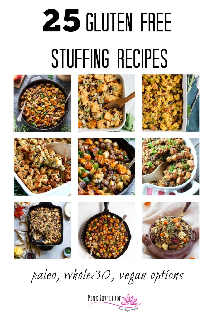 Whether you are personally gluten free or need to be considerate for your guest's dietary restrictions, these 25 gluten free stuffing recipes are sure to please! They are perfect to make for the holidays, at Thanksgiving or Christmas or even all year round! Paleo, Whole30, Keto, and vegan options are plentiful.