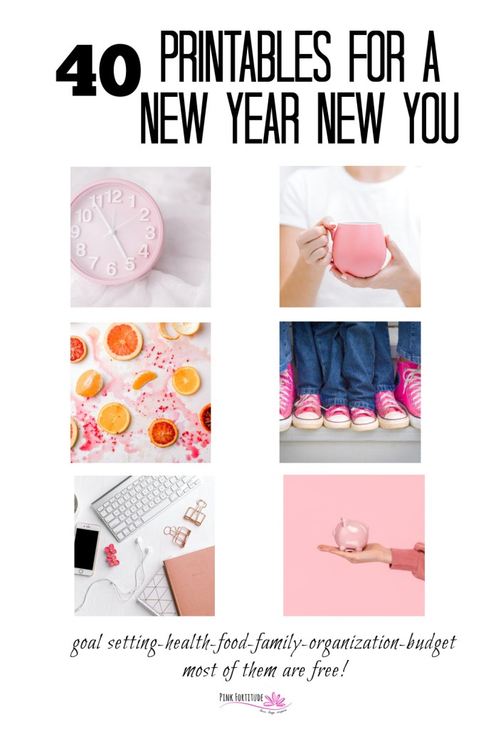 Happy New Year! It's time to set those goals and make those new years resolutions! Here are 40 printables for your New Year New You. These printables include: goal setting and productivity, health and wellness, food and cooking, family management, home and organization, and budgeting and financial. The majority of these printables are free!