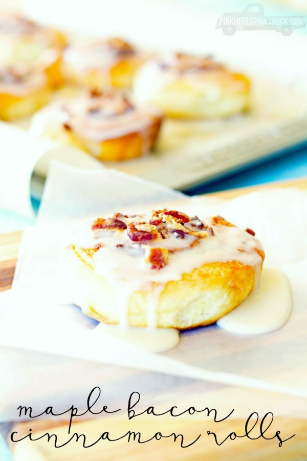 These Maple Bacon Cinnamon Rolls will be a sure hit at breakfast!!