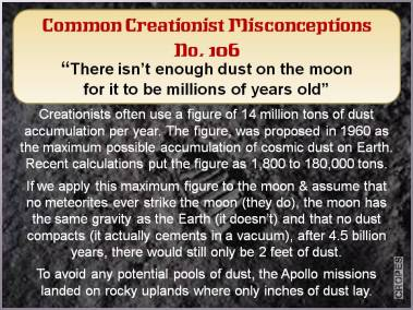 There isn't enough dust on the moon for it to be millions of years old.