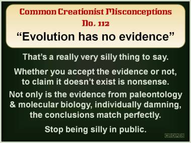 Evolution has no evidence.