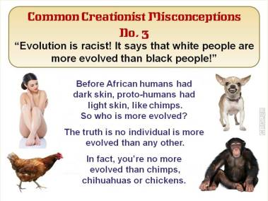Evolution is racist! It says that white people are more evolved than black people!
