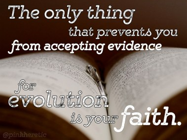 The only thing that prevents you from accepting evidence for evolution is your faith.