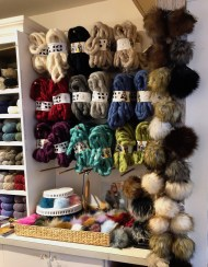 Chunky yarn and pom poms!