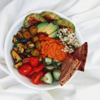 Mediterranean Bowl with Roasted Red Pepper Chutney