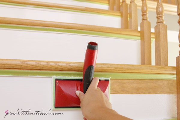 Painting A Stair Riser In 10 Seconds Or Less A Must Have Tool | Dark Stained Stairs With White Risers | Restain | Tread | 2 Colour | Staining | Glossed
