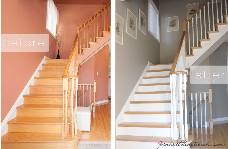 Ordinary Oak To Simply White My Staircase Reveal Pink Little | White Oak Stair Risers | Spindles | Paint | Stair Railing | Stairs Treads | Carpet