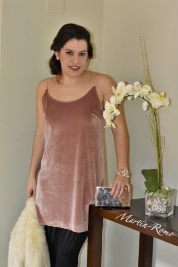 Vestido terciopela rosa