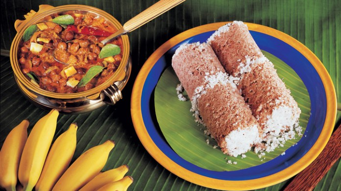 Kerala Cuisine: Puttu and Kadala Curry with small Kerala banana