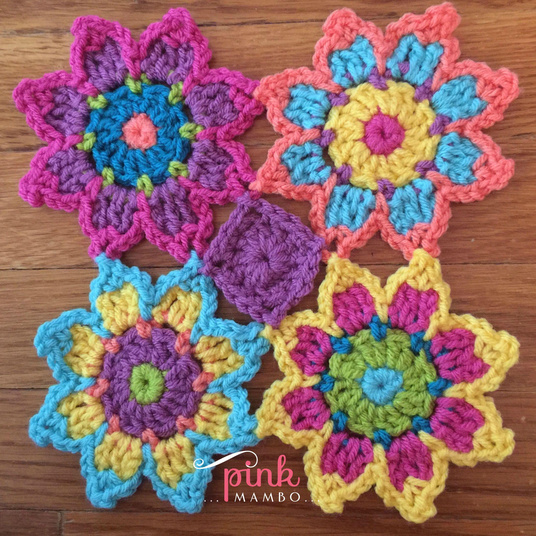 taanvi 39 s flower crochet motif pink mambo. Black Bedroom Furniture Sets. Home Design Ideas