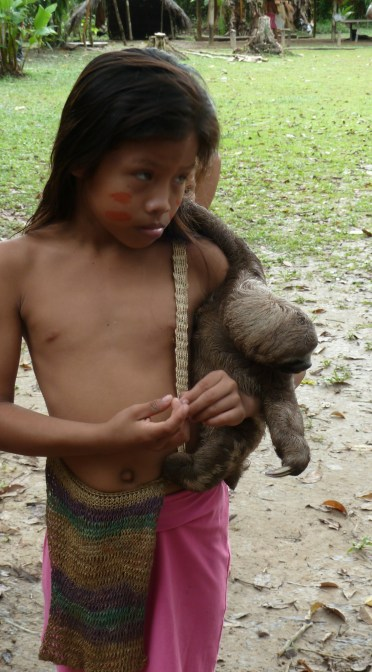 Girl from Yagua Tribe with Baby Sloth