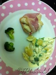 Bacon Wrapped Chicken & Cheese with fresh herbed Pasta and Sautéed Broccoli