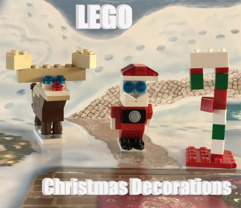 Scene with LEGO Rudolph the red nose reindeer, Father Christmas and Candy Cane