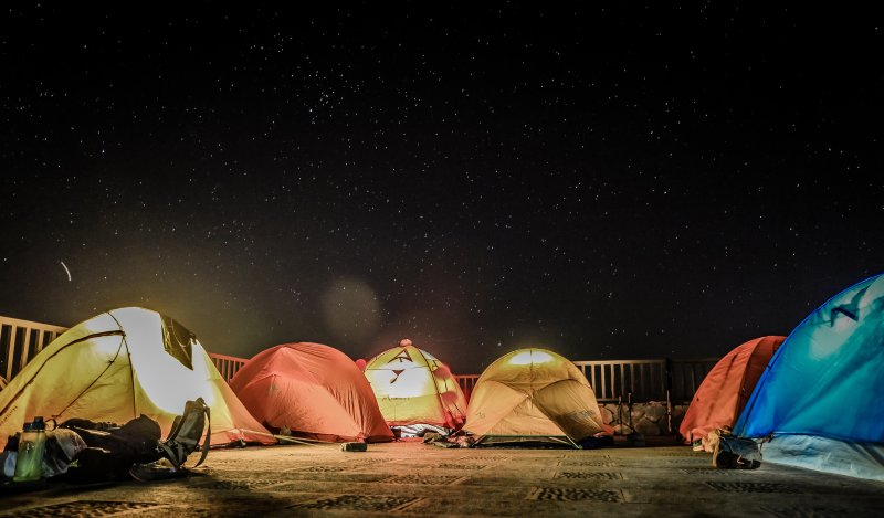 group of tents at night