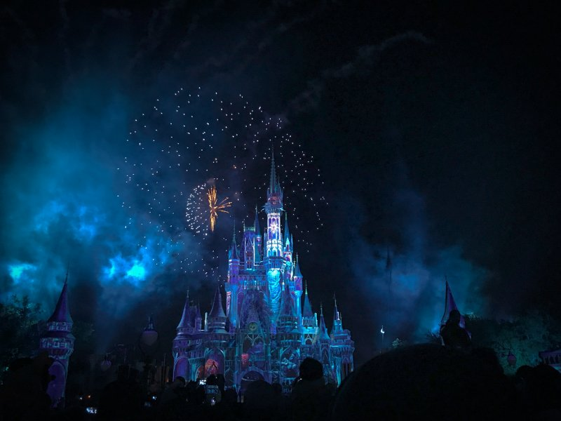 disney castle and fireworks