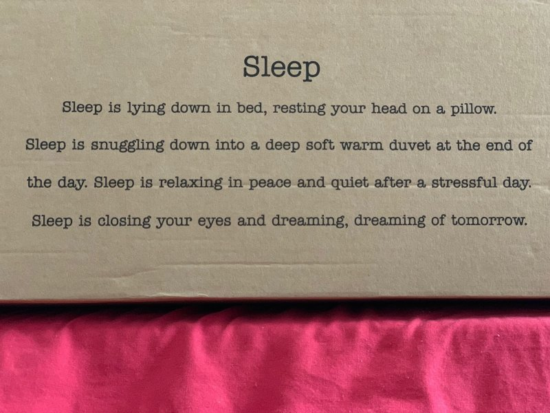 words describing sleep on nanu box