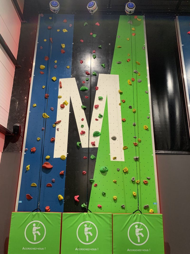 M climbing wall at Mad Monkey Montpellier