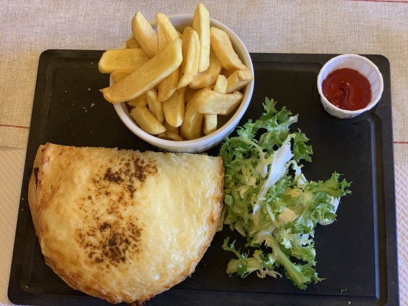 croque monsieur and chips at Le Bistrot at Puy du Fou France