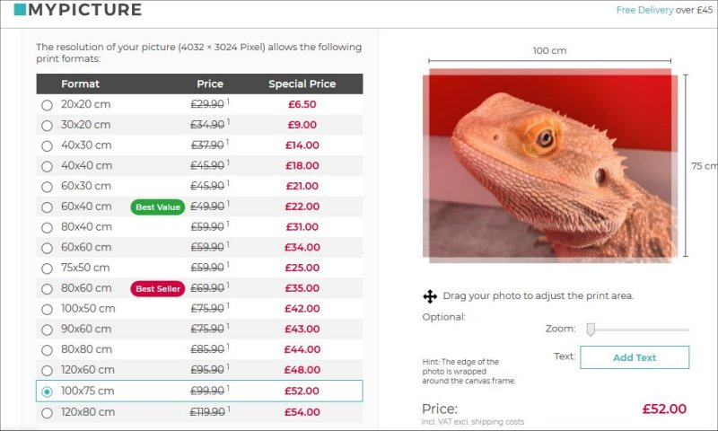 Canvas pricing at MyPicture.co.uk