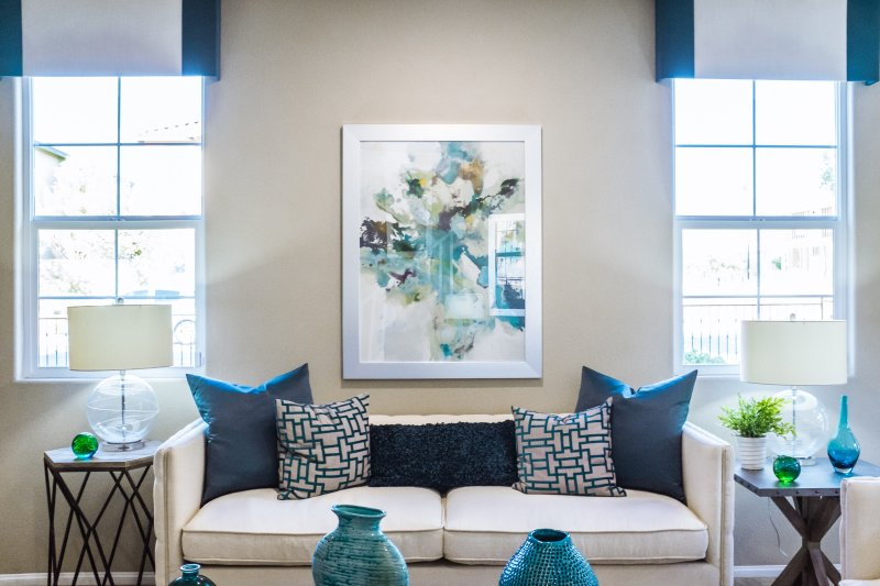 blue themed decorated living room