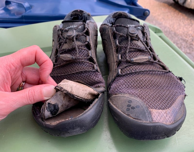 Vivobarefoot trail shoes fit for the bin
