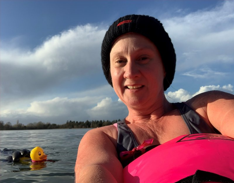 cold water swimming in the lake